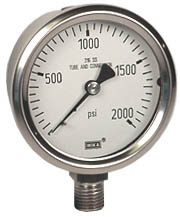 "Stainless Pressure Gauge 2.5"", 2000 PSI, Liquid Filled"
