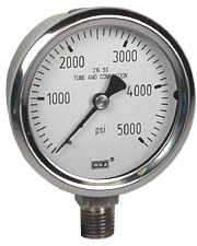 "Stainless Pressure Gauge 2.5"", 5000 PSI, Liquid Filled"