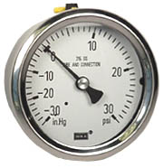 "WIKA Stainless Compound Gauge 2.5"", 30""Hg-0-30 PSI"