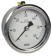 "WIKA Stainless Steel Pressure Gauge 2.5"", 60 PSI"