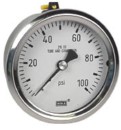 "WIKA Stainless Steel Pressure Gauge 2.5"", 100 PSI"
