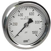 """WIKA Stainless Steel Pressure Gauge 2.5"""", 1000 PSI"""