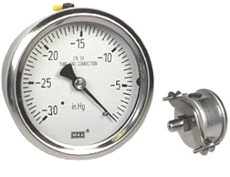 "WIKA U-Clamp Panel Mt S.S. Vacuum Gauge 2.5"", 30"" Hg"