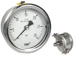 "U-Clamp Panel Mt Stainless Gauge 2.5"", 30 PSI"