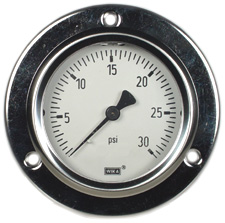 """WIKA Front Flange Panel Mt Stainless Gauge 2.5"""", 30 PSI"""
