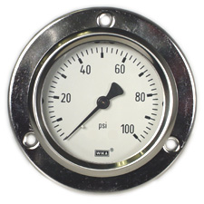 "WIKA Front Flange Panel Mt Stainless Gauge 2.5"", 100 PSI"