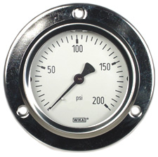 "Front Flange Panel Mt Stainless Gauge 2.5"", 200 PSI"