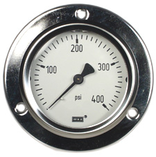 "Front Flange Panel Mt Stainless Gauge 2.5"", 400 PSI"