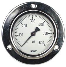 """WIKA Front Flange Panel Mt Stainless Gauge 2.5"""", 600 PSI"""