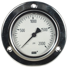 "Front Flange Panel Mt Stainless Gauge 2.5"", 2000 PSI"