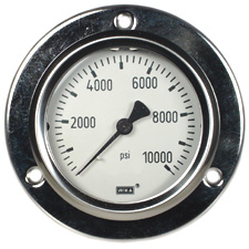 """WIKA Front Flange Panel Mt Stainless Gauge 2.5"""", 10,000 PSI"""