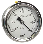 "WIKA Stainless Steel Vacuum Gauge 2.5"", 30""Hg, Liquid Filled"
