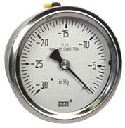 """Stainless Steel Vacuum Gauge 2.5"""", 30""""Hg, Liquid Filled"""