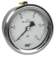 "WIKA Stainless Pressure Gauge 2.5"", 15 PSI, Liquid Filled"