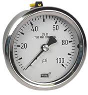 "WIKA Stainless Pressure Gauge 2.5"", 100 PSI, Liquid Filled"