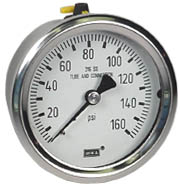 "Stainless Pressure Gauge 2.5"", 160 PSI, Liquid Filled"
