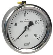 "WIKA Stainless Pressure Gauge 2.5"", 200 PSI, Liquid Filled"