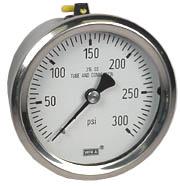 "WIKA Stainless Pressure Gauge 2.5"", 300 PSI, Liquid Filled"