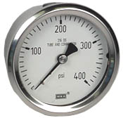 "WIKA Stainless Pressure Gauge 2.5"", 400 PSI, Liquid Filled"