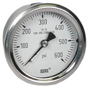"WIKA Stainless Pressure Gauge 2.5"", 600 PSI, Liquid Filled"