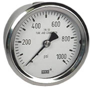 "WIKA Stainless Pressure Gauge 2.5"", 1000 PSI, Liquid Filled"