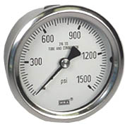 "WIKA Stainless Pressure Gauge 2.5"", 1500 PSI, Liquid Filled"