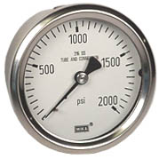 "WIKA Stainless Pressure Gauge 2.5"", 2000 PSI, Liquid Filled"