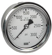 "Stainless Pressure Gauge 2.5"", 3000 PSI, Liquid Filled"