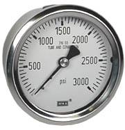 "WIKA Stainless Pressure Gauge 2.5"", 3000 PSI, Liquid Filled"