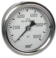 "WIKA Stainless Pressure Gauge 2.5"", 10,000 PSI, Liquid Filled"