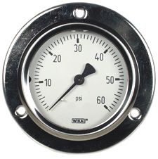 "WIKA Front Flange Panel Mt Stainless Gauge 2.5"", 60 PSI, LF"