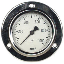 "Front Flange Panel Mt Stainless Gauge 2.5"", 1000 PSI, LF"