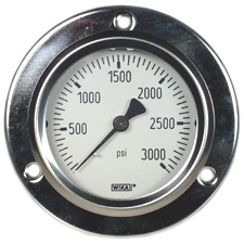 """WIKA Front Flange Panel Mt Stainless Gauge 2.5"""", 3000 PSI, LF"""