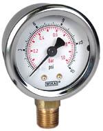"WIKA Industrial Pressure Gauge 2"", 15 PSI/Bar, Liquid Filled"