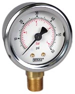"WIKA Industrial Pressure Gauge 2"", 60 PSI/Bar, Liquid Filled"