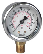 "WIKA Industrial Pressure Gauge 2"", 160 PSI/Bar, Liquid Filled"