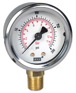 "WIKA Industrial Pressure Gauge 2"", 200 PSI/Bar, Liquid Filled"