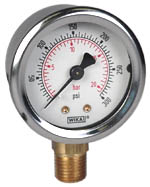 "WIKA Industrial Pressure Gauge 2"", 300PSI/Bar, Liquid Filled"