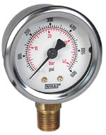 "WIKA Industrial Pressure Gauge 2"", 600 PSI/Bar, Liquid Filled"
