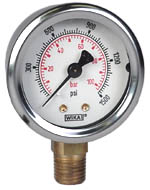 "WIKA Industrial Gauge 2"", 1500 PSI/Bar, Liquid Filled"