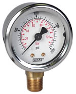 "WIKA Industrial Gauge 2"", 2000 PSI/Bar, Liquid Filled"