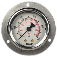 "WIKA Front Flange Panel Mount Gauge 2"", 1000 PSI/Bar"