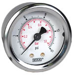 "WIKA Industrial Pressure Gauge 2"", 15 PSI/Bar, Liquid Filled"