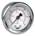 "WIKA Industrial Pressure Gauge 2"", 30 PSI/Bar, Liquid Filled"