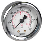"WIKA Industrial Pressure Gauge 2"", 300 PSI/Bar, Liquid Filled"