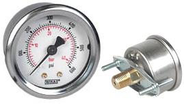 "WIKA U-Clamp Panel Mt Pressure Gauge 2"", 600 PSI/Bar"