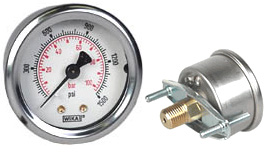 "WIKA U-Clamp Panel Mt Pressure Gauge 2"", 1500 PSI/Bar"
