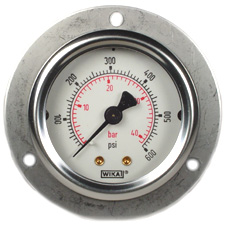 "WIKA Front Flg Panel Mt Gauge 2"", 600 PSI/Bar, Liq Filled"