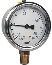 "WIKA Industrial Compound Gauge 2.5"", 30""Hg-0-60 PSI"