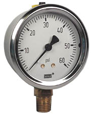 "WIKA Industrial Pressure Gauge 2.5"", 60 PSI"